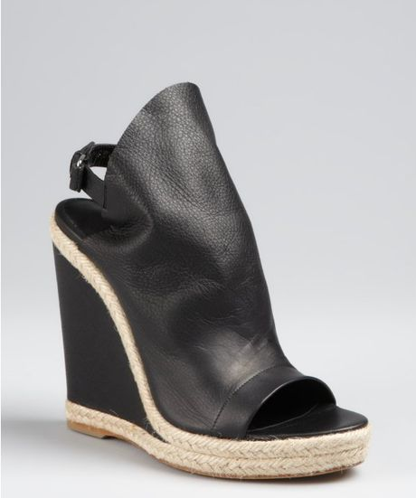balenciaga black leather closed espadrille wedge sandals