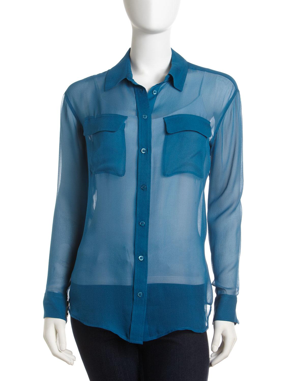 Синяя Шифоновая Блузка