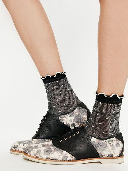 Free People Sweet Day Saddle Shoe In Black Black Floral