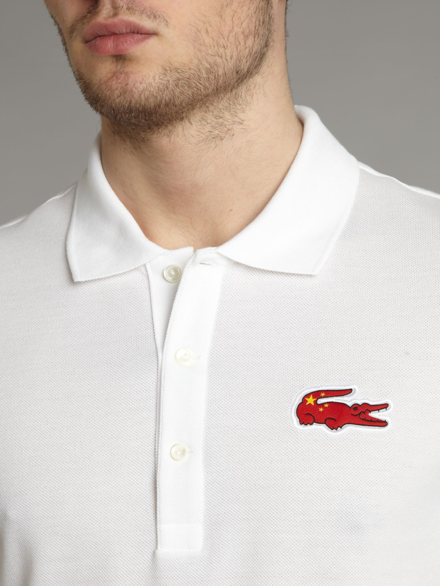 Lacoste Slim Fit China Croc Polo Shirt In White For Men Lyst