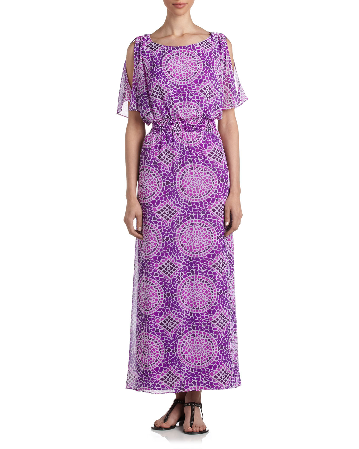 Lyst Laundry By Shelli Segal Mosaicprint Maxi Dress In Purple