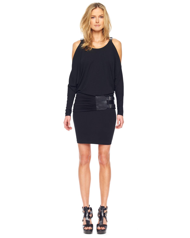 michael kors coldshoulder belted dress in black lyst