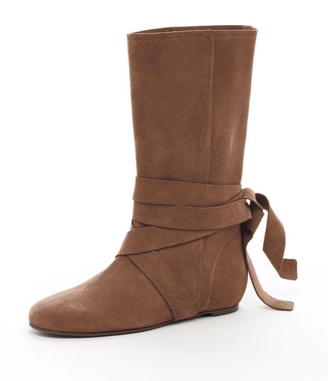 michael kors malika flat boot in brown b lyst