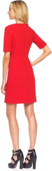 Michael Kors Stretch Boucle Shift Dress Red in Red