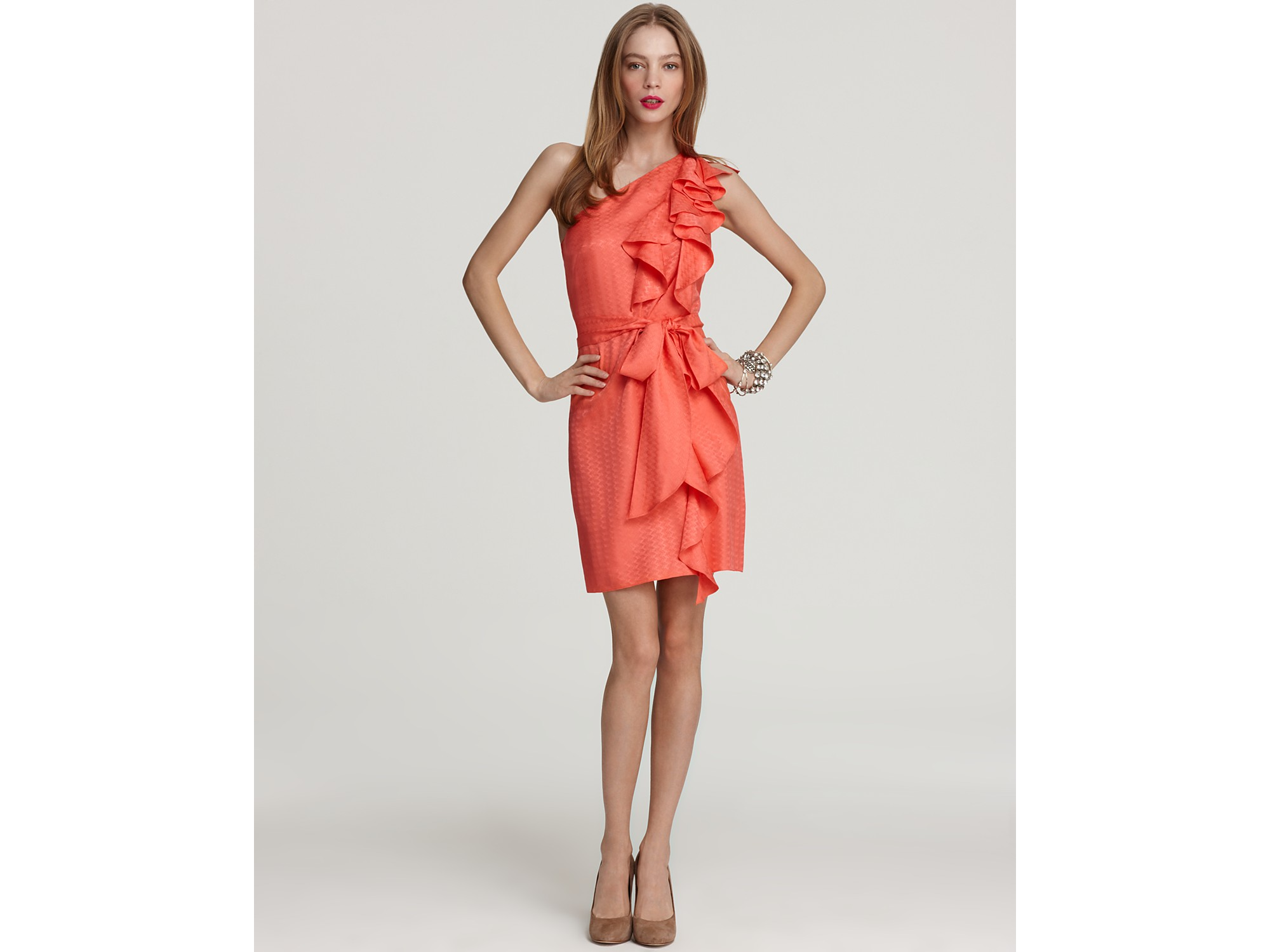 2eab5ca39e6 Lyst - MILLY Dress Cascade One Shoulder in Pink
