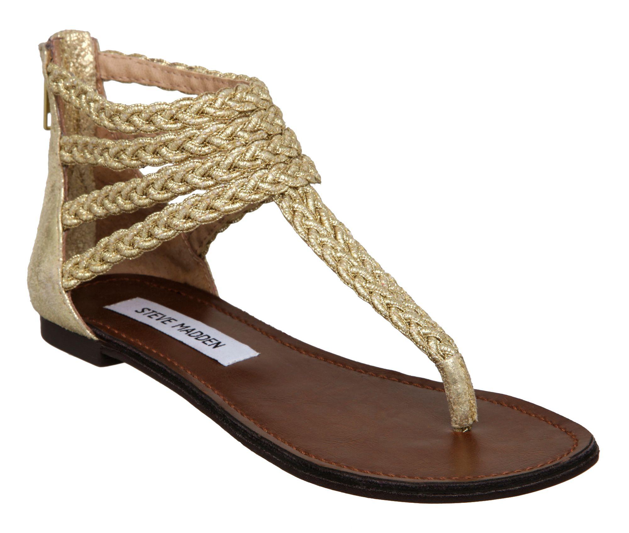 steve madden symon t bar plaited sandals in gold lyst. Black Bedroom Furniture Sets. Home Design Ideas