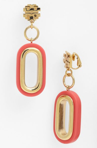 Tory Burch Heidi Drop Earrings in Pink (coral)
