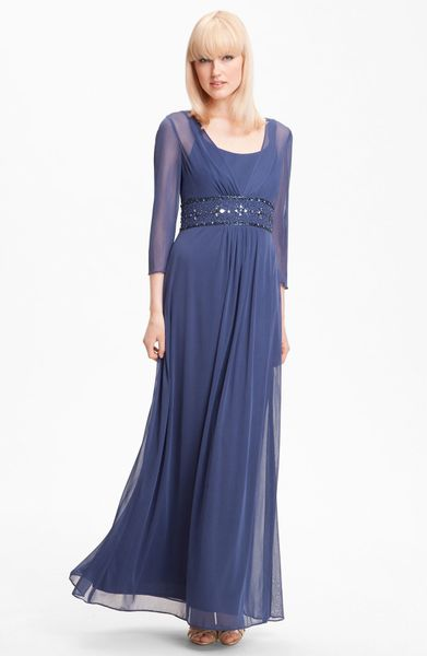Alex Evenings Long Sleeve Bead Waist Mesh Gown in Blue (wedgewood)