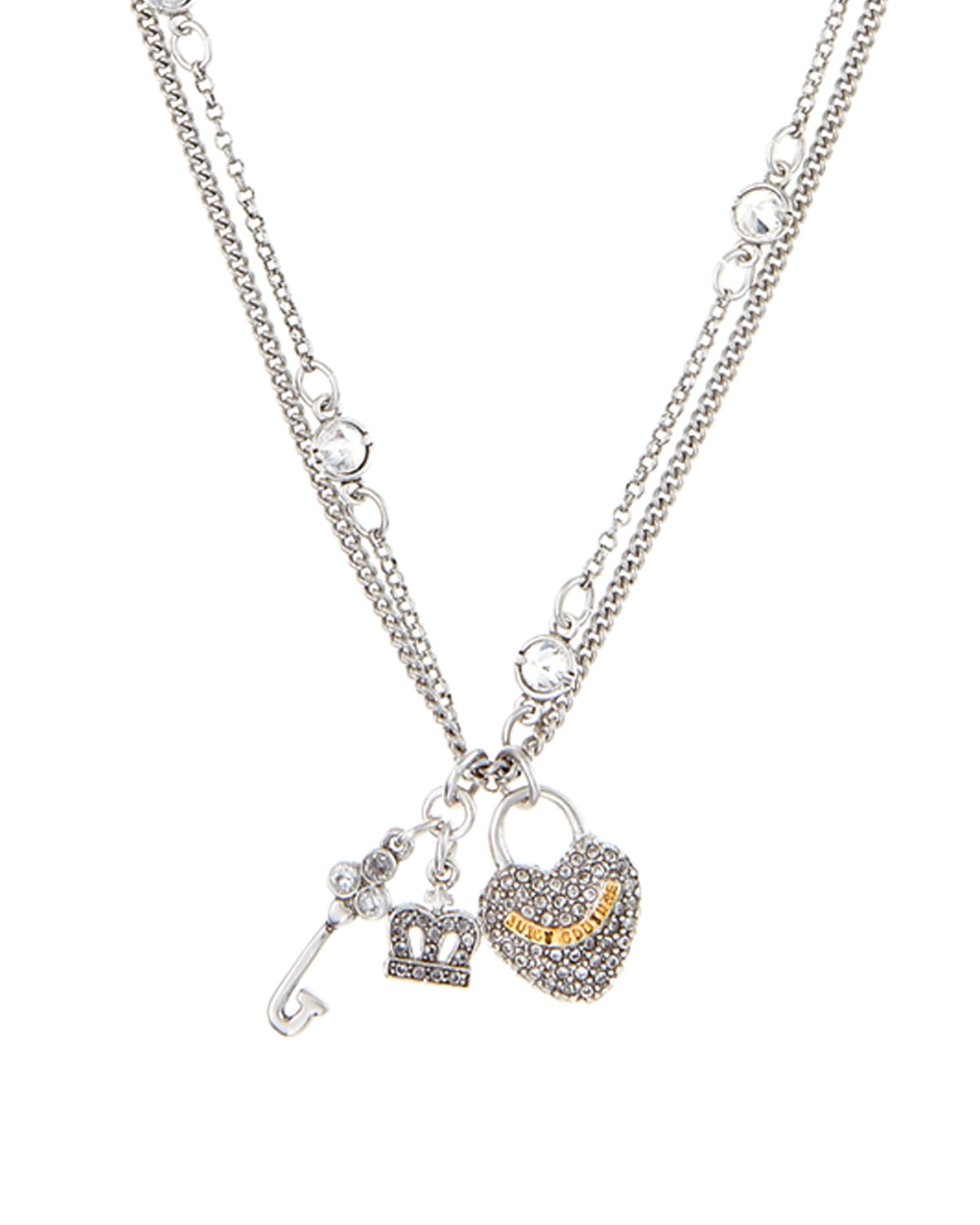Juicy couture key to heart necklace in silver null lyst for Juicy couture jewelry necklace
