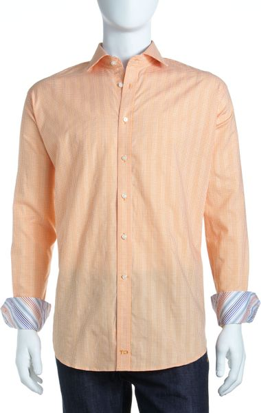 Thomas Dean Check Houndstooth Button Down Shirt Orange In