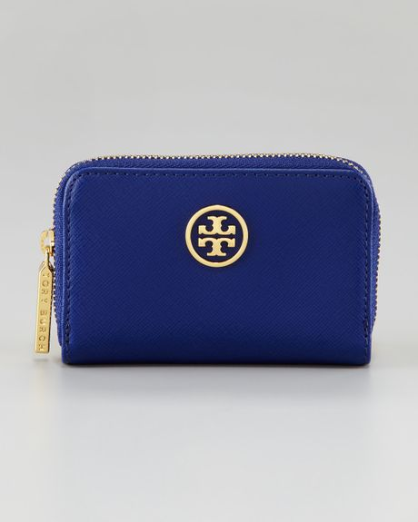 Tory Burch Robinson Zip Coin Purse in Blue (cobalt orange)