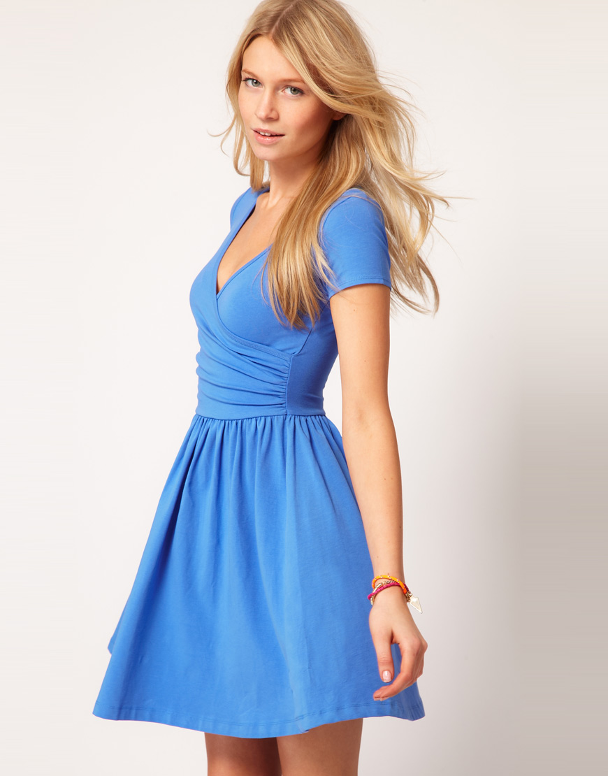 Asos Skater Dress With Ballet Wrap In Blue Lyst