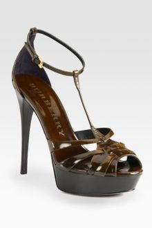 Burberry Leather Tstrap Platform Sandals - Lyst