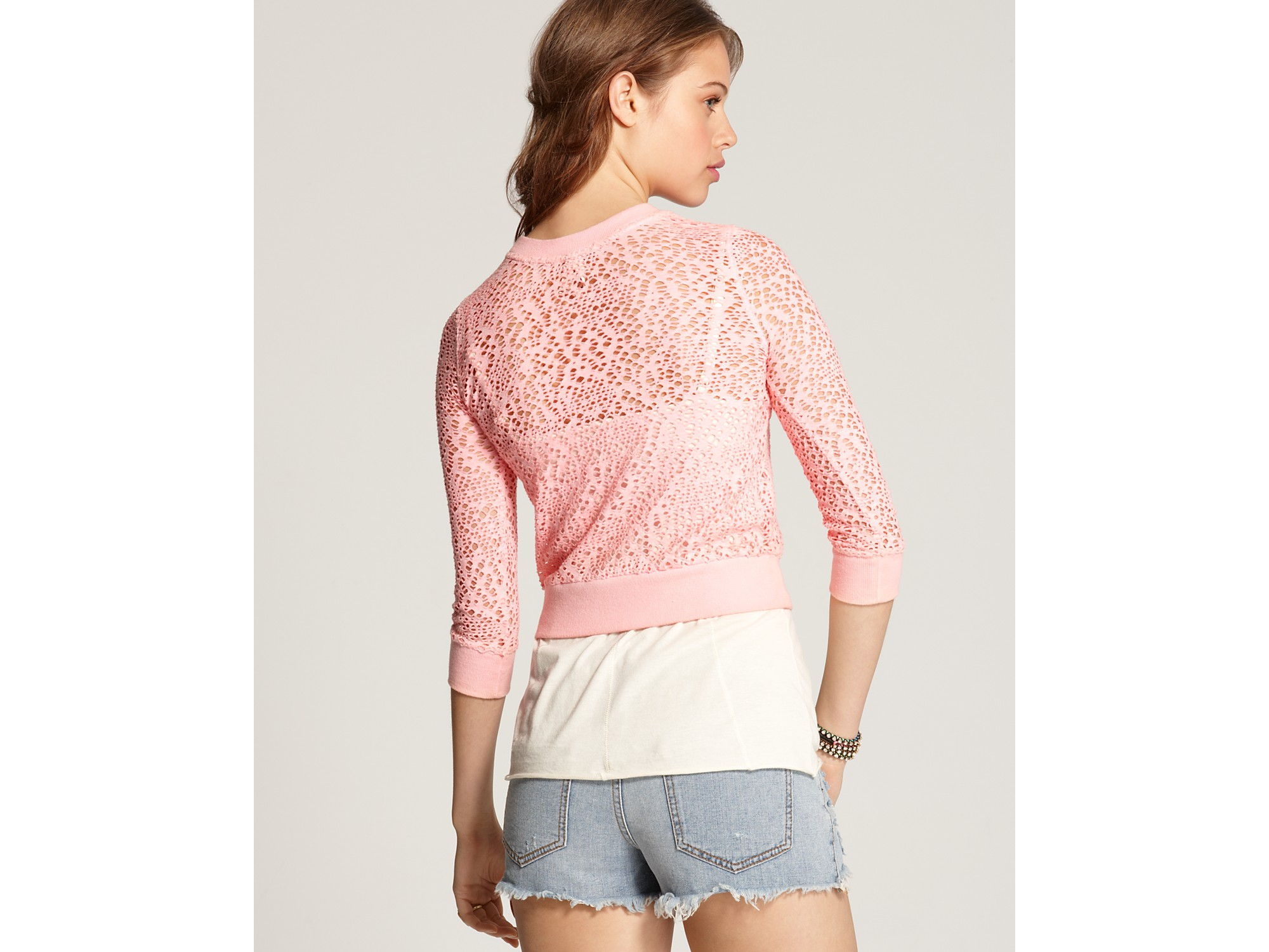 Free people Cropped Sweater Spider Drop Needle in Pink   Lyst