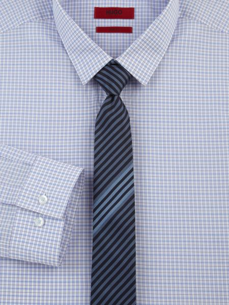Hugo Striped Silk Tie in Blue for Men - Lyst