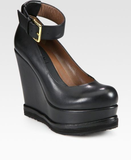 Marni Leather Ankle Strap Platform Wedges in Black - Lyst