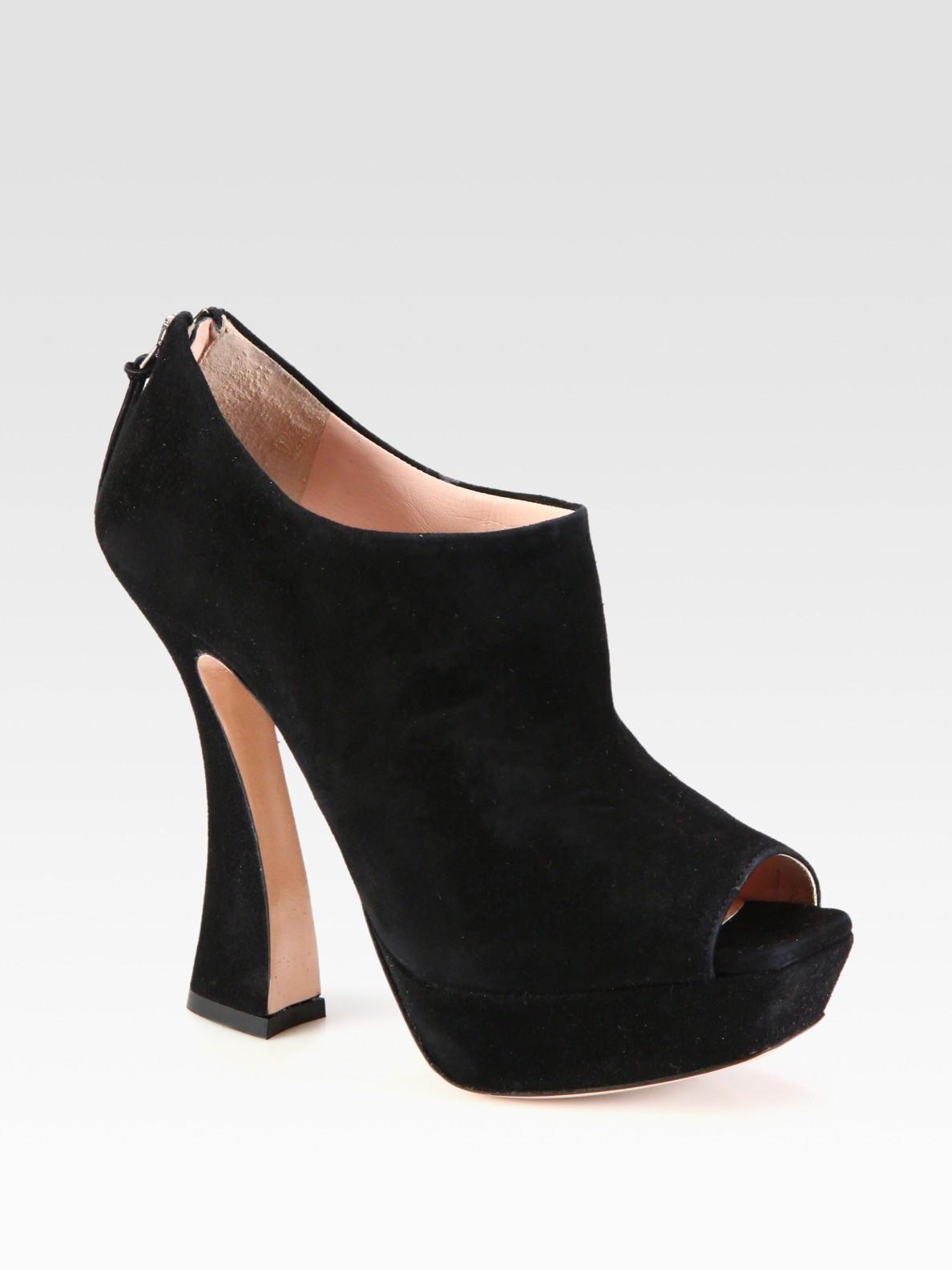 miu miu suede peep toe ankle boots in black lyst