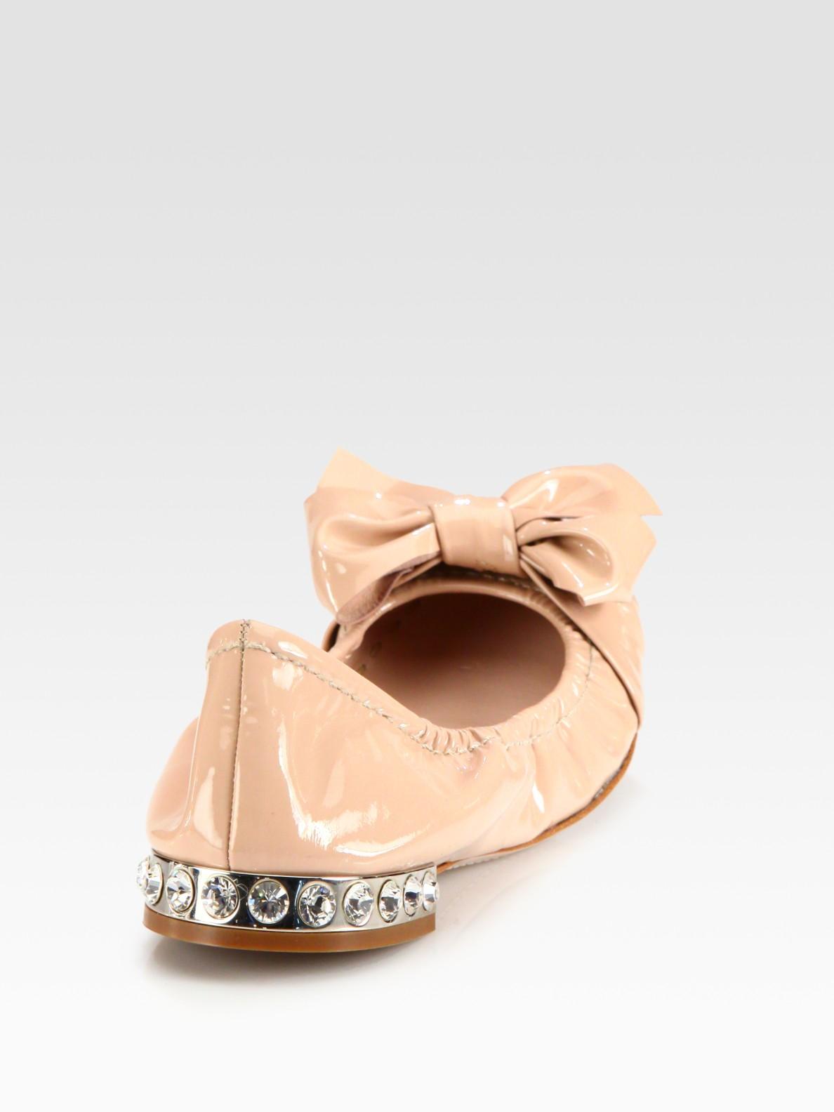 7befe3c665e Lyst - Miu Miu Glitter Patent Leather Bow Ballet Flats in Natural