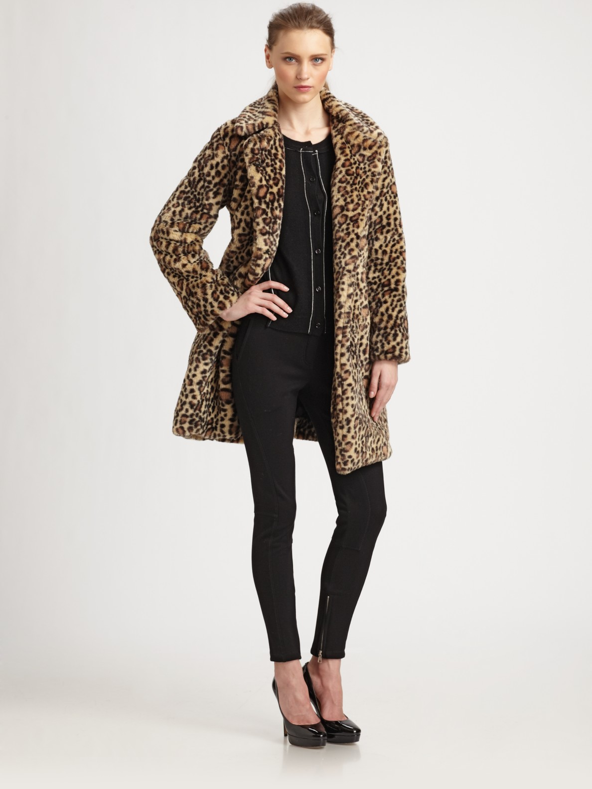 5889b63f8838 Boutique Moschino Faux Fur Cheetah Coat in Natural - Lyst