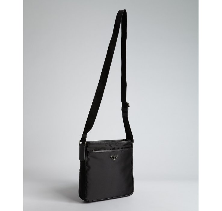 Prada Black Nylon Logo Mini Messenger Bag in Black for Men | Lyst