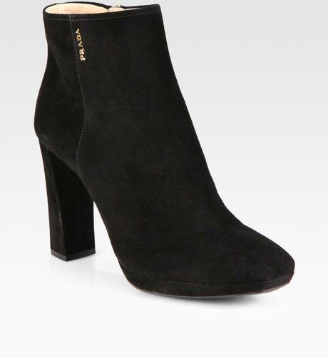 prada suede platform ankle boots in black lyst