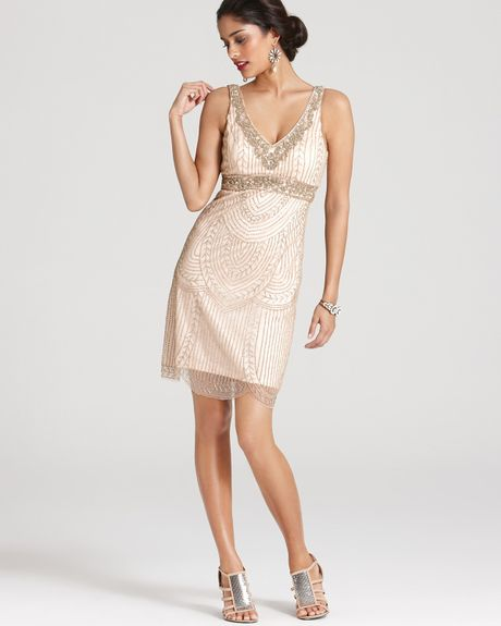 Sue Wong Dress Beaded V Neck In Pink (blush)