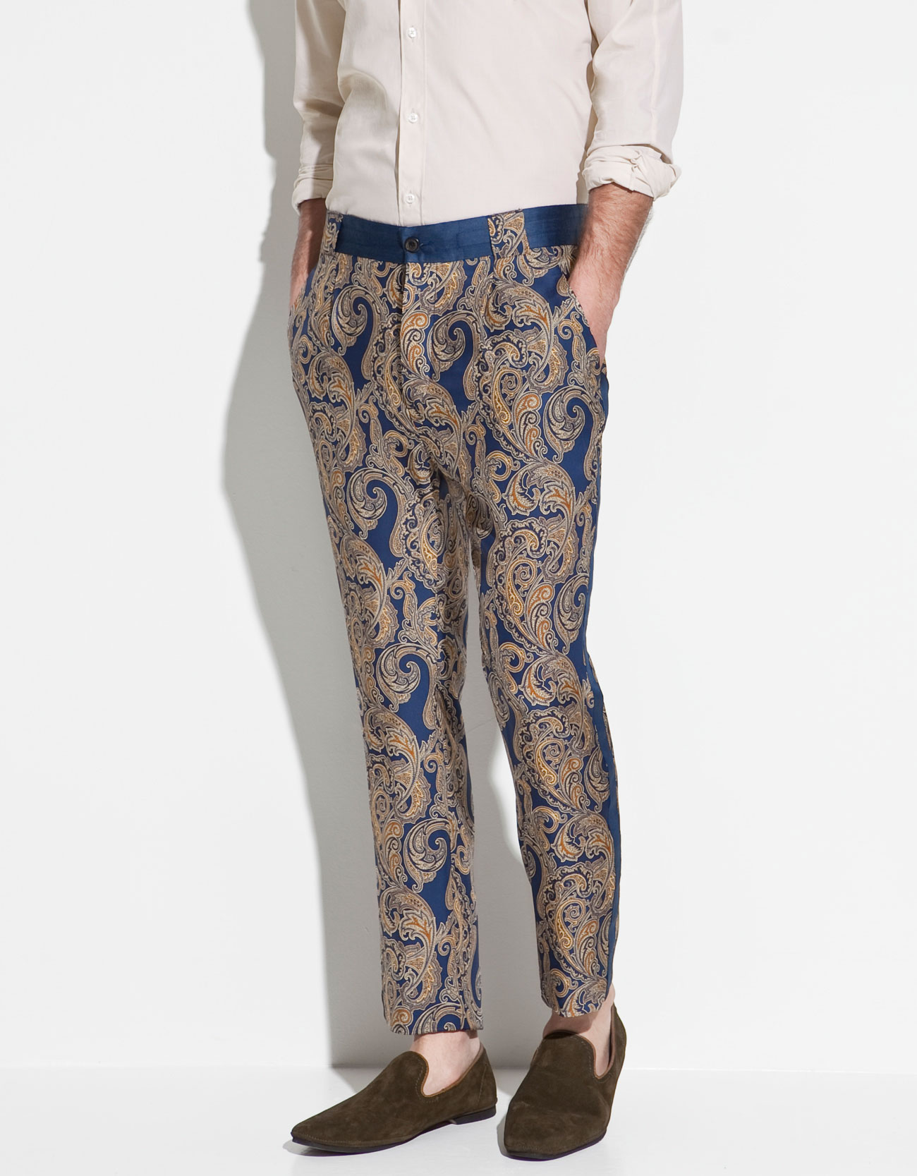 Zara Printed Silk Trousers In Metallic For Men | Lyst