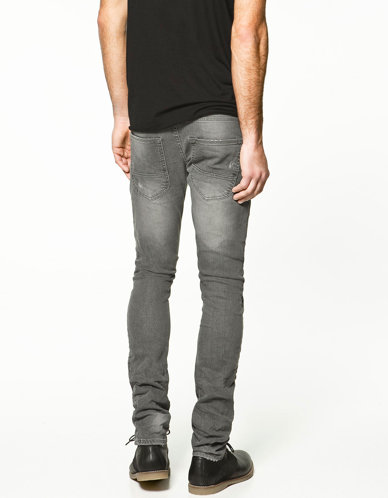 Zara Ripped Skinny Jeans in Gray for Men | Lyst