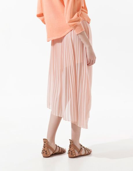 zara asymmetric pleated skirt in pink lyst