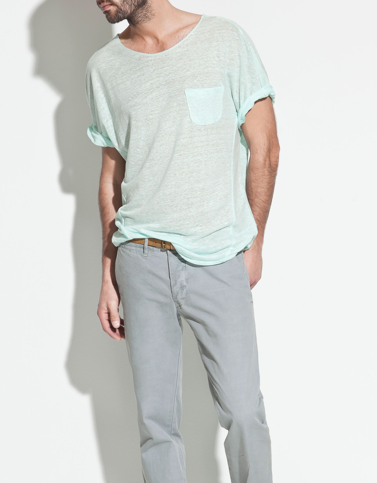 zara linen tshirt in blue for men sea lyst