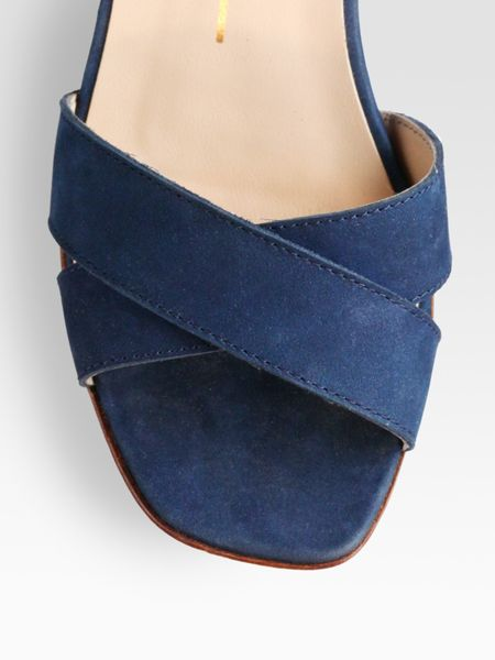 Dolce Vita Suede Cutout Wedge Sandals In Blue Navy Lyst