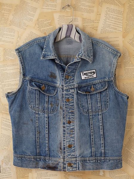 Free People Vintage Distressed Denim Vest in Blue