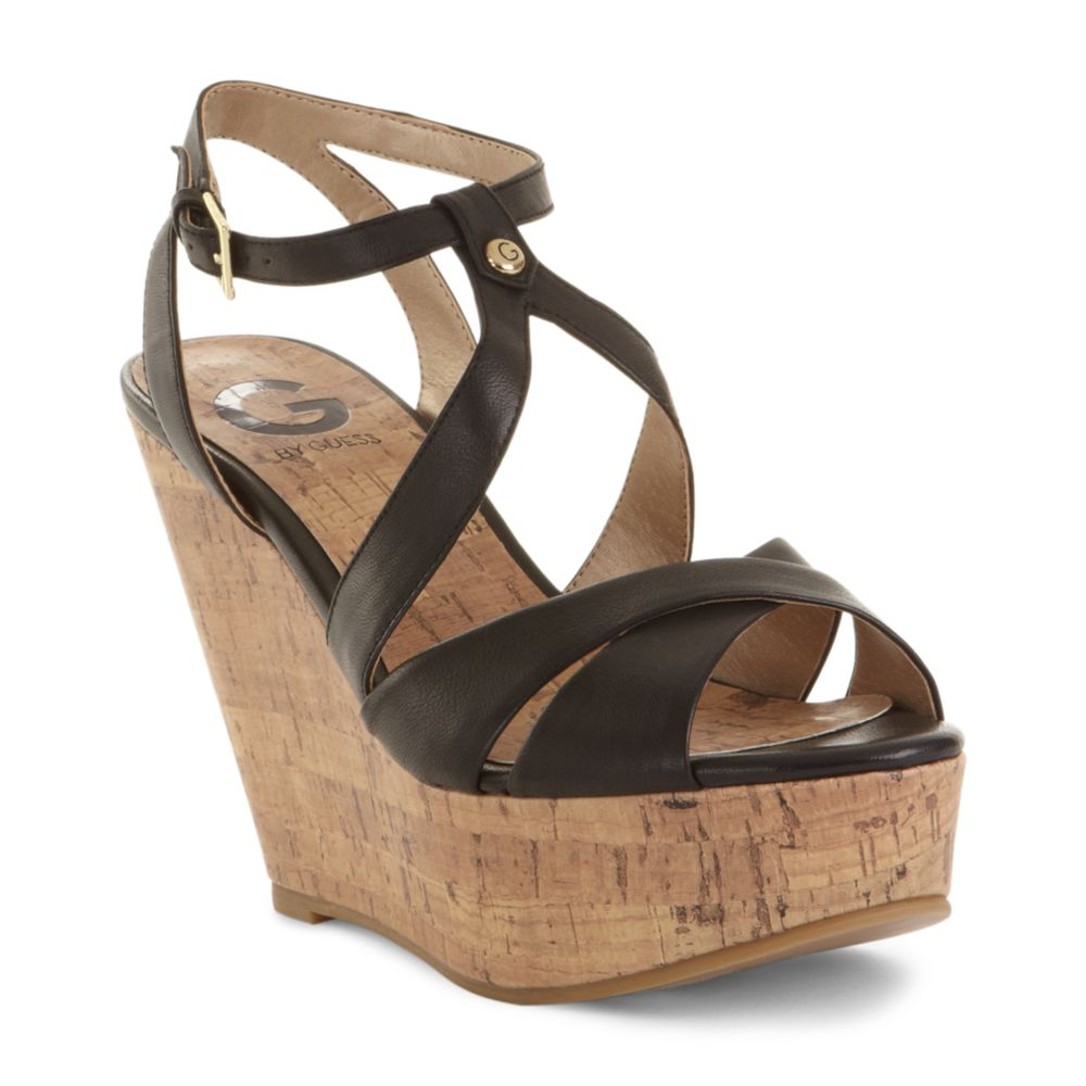 By Wedge Guess In G Lyst Tenor Sandals Black 92weydhi Platform f6b7gy