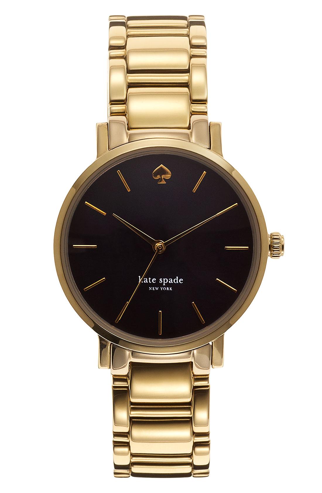 kate spade gramercy bracelet in gold black gold