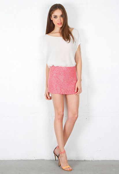 leather sequin mini skirt in pink lyst