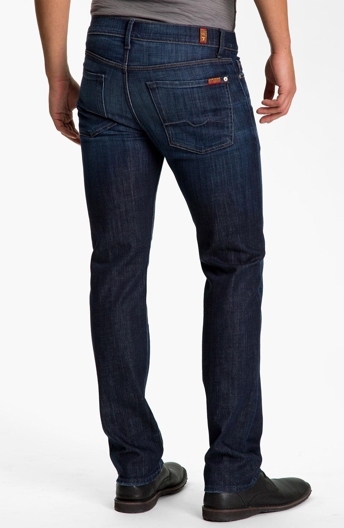 7 for all mankind 39 slimmy 39 slim straight leg jeans in blue for men los angeles dark lyst. Black Bedroom Furniture Sets. Home Design Ideas