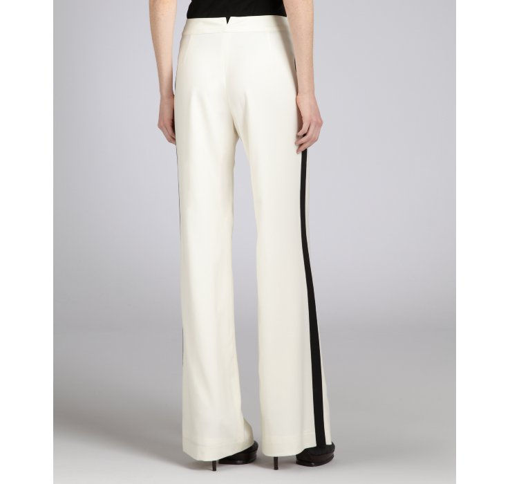 Adam lippes Ivory and Black Stripe Wool Cashmere Blend Wide Leg ...