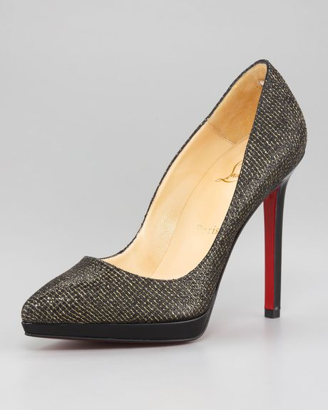 Christian Louboutin Pigalle Glittered Pump in Black