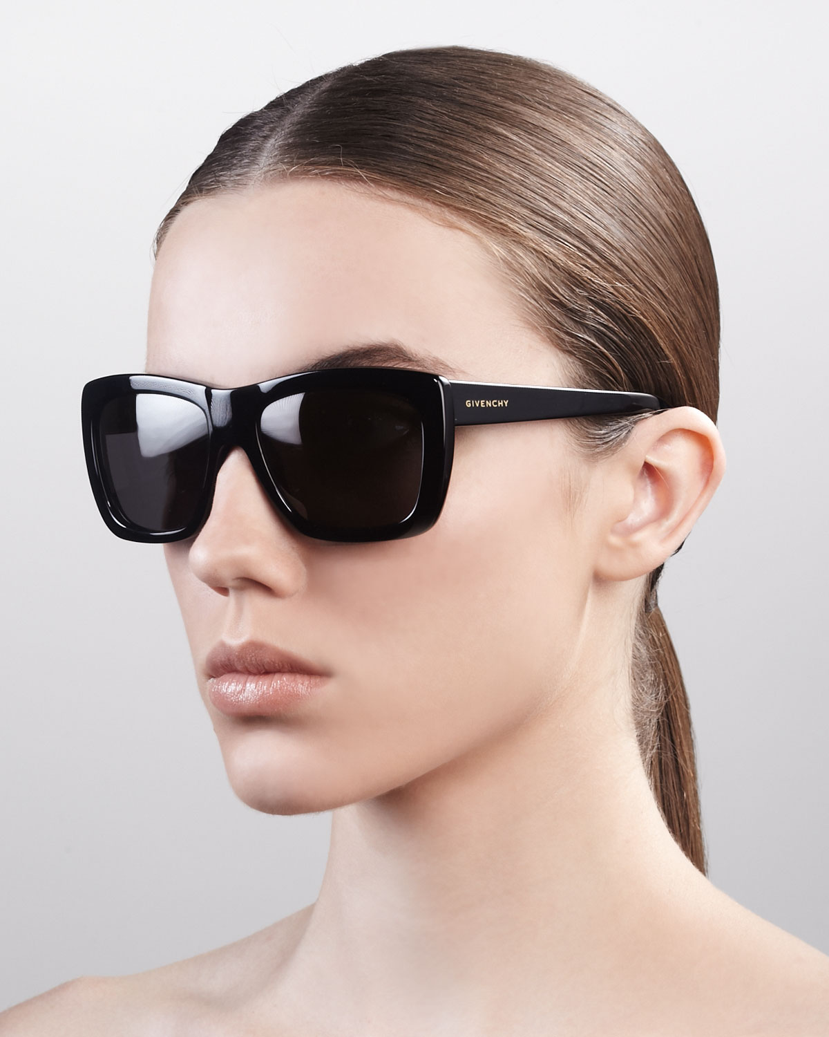 7b89d28a851 Lyst - Givenchy Oversized Square Sunglasses Shiny Black in Black
