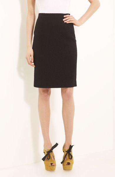 Moschino Cheap & Chic Bouclé Wool Pencil Skirt in Black