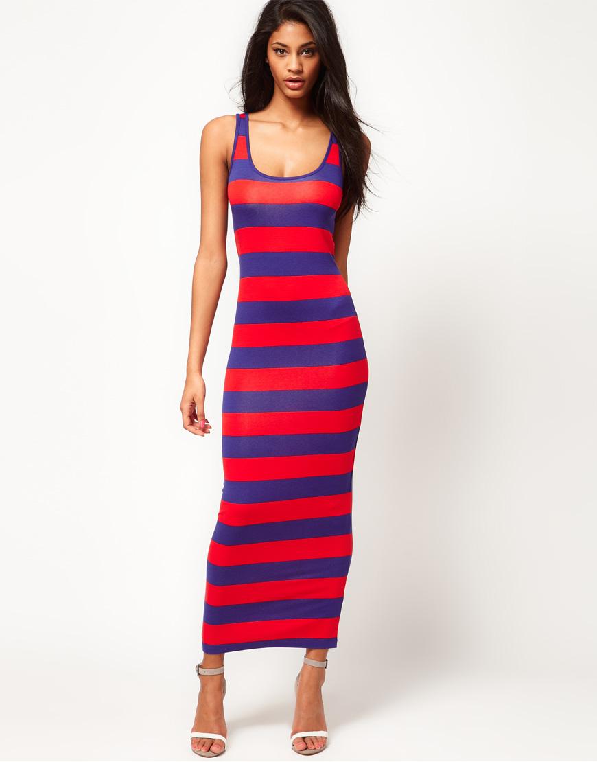 Lyst Asos Maxi Dress In Wide Stripe In Blue