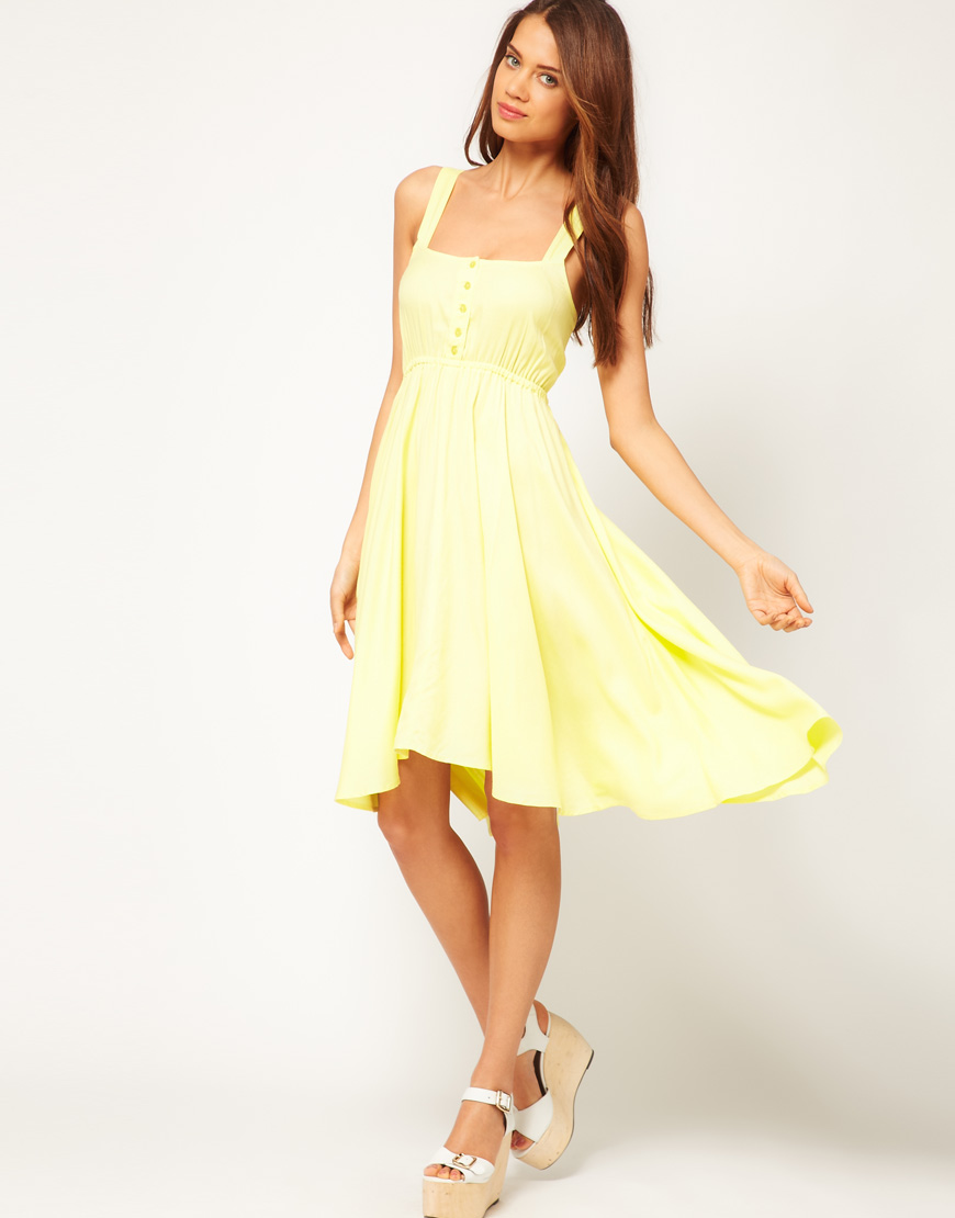 Asos Midi Summer Dress with Bow Back in Yellow - Lyst