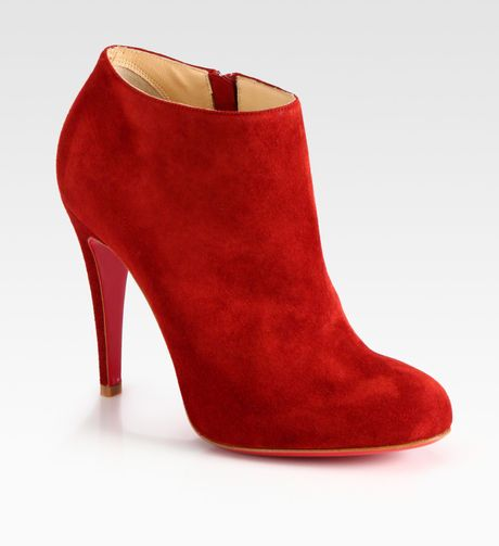 Christian Louboutin Suede Ankle Boots in Red