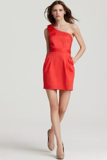 Shoulder Dress on French Connection Velarian Red One Shoulder Dress Wizard Bow Product 1