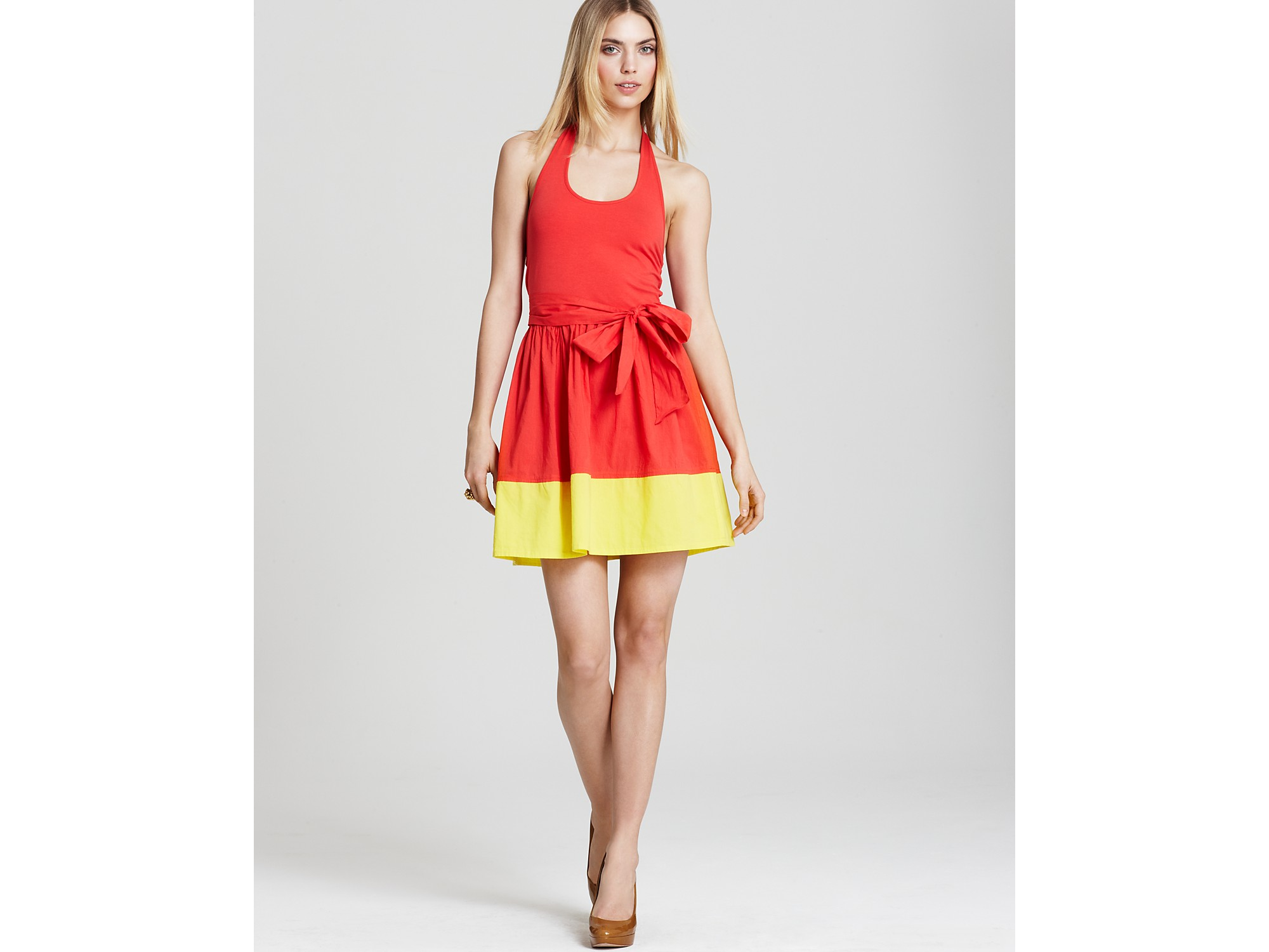 Red and yellow makes what color is the dress