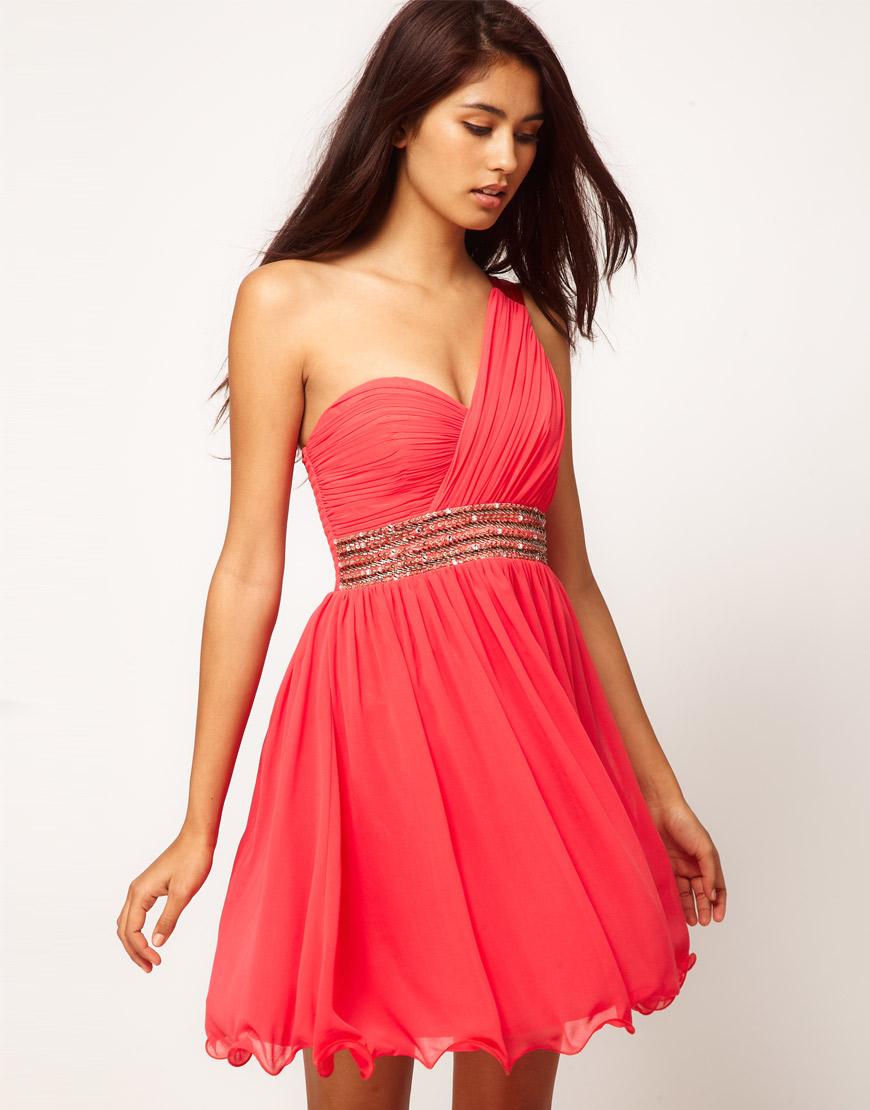 little mistress little mistress embellished one shoulder dress in pink lyst. Black Bedroom Furniture Sets. Home Design Ideas