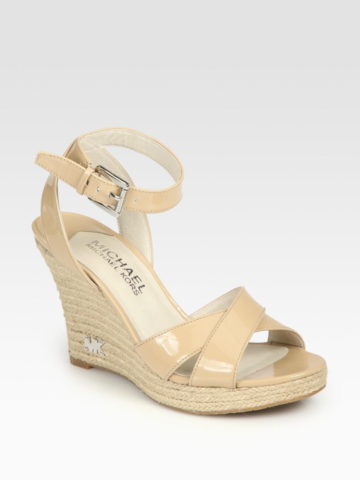 9c72a3c4a6f MICHAEL Michael Kors Natural Kami Patent Leather Espadrille Wedge Sandals