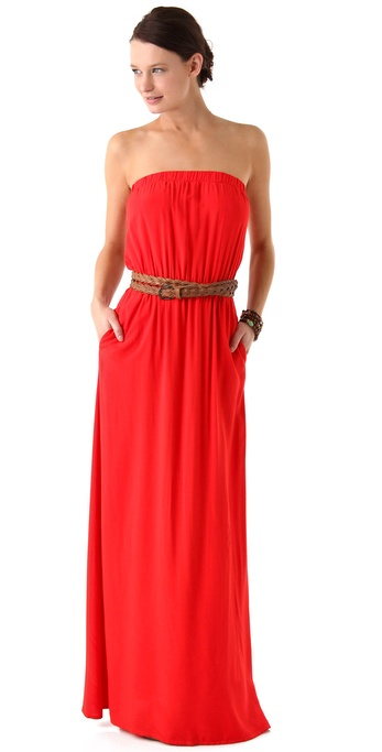 Splendid Strapless Maxi Dress in Red - Lyst