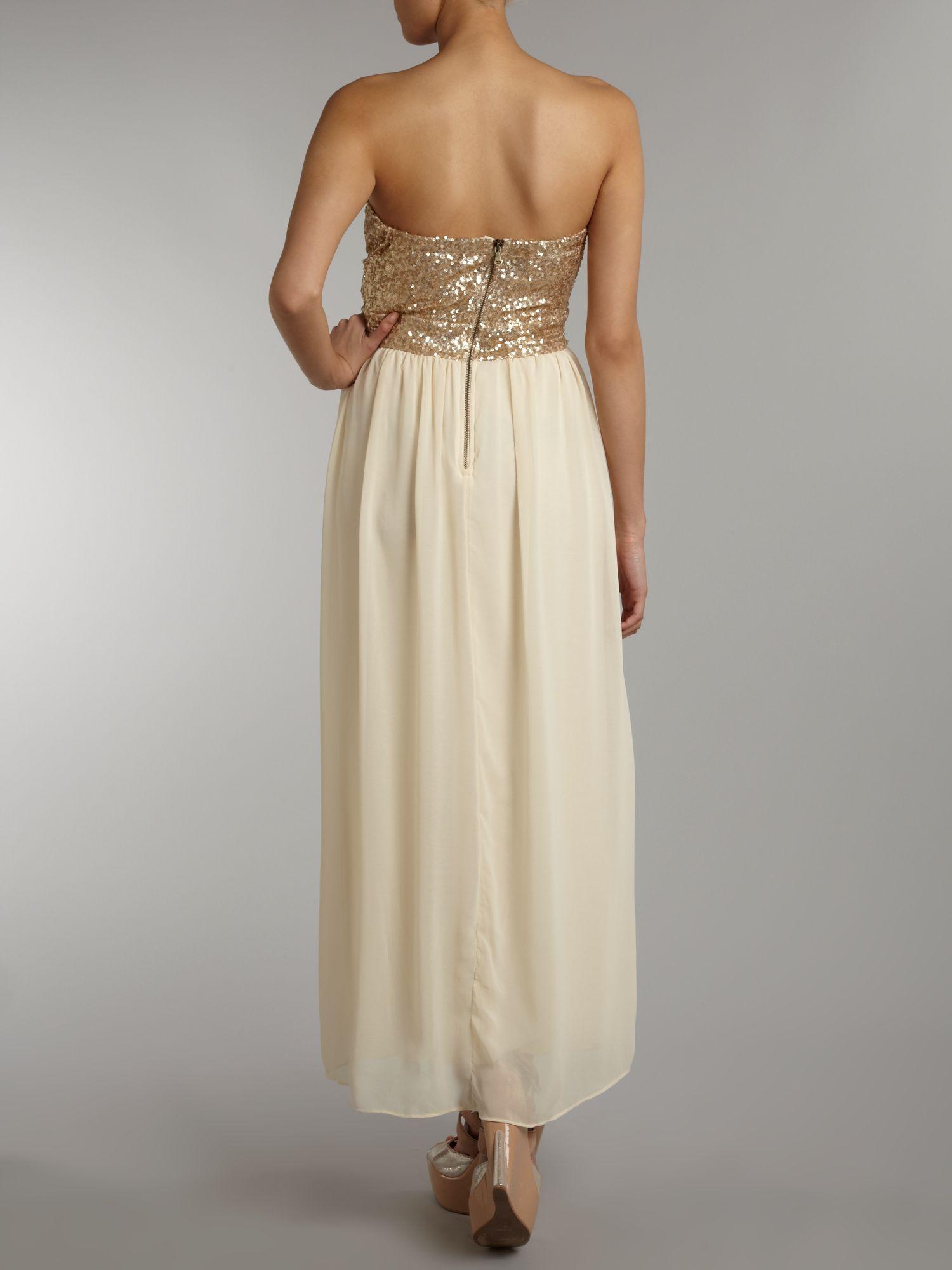 Tfnc london Sequin Top Maxi Dress in Metallic - Lyst