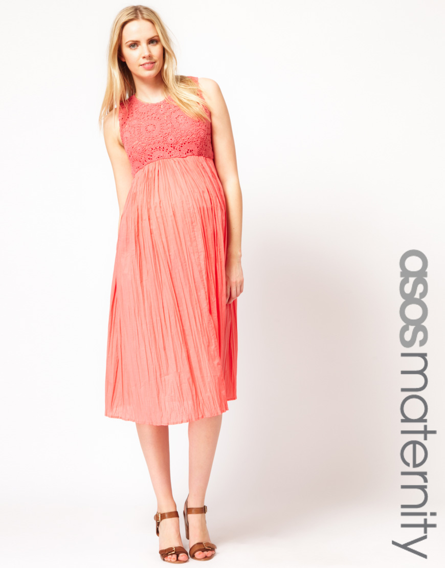 Asos Asos Maternity Exclusive Crochet Lace Midi Dress In